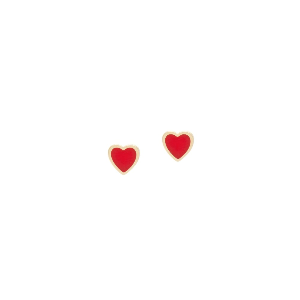 Red Enamel Heart Earrings Yellow Gold