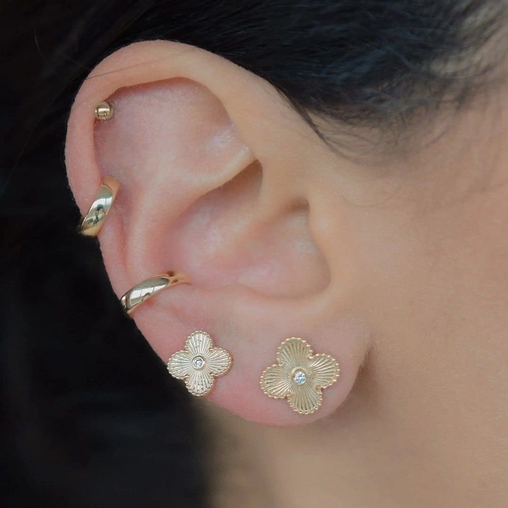 Small Flower with Diamond Earrings