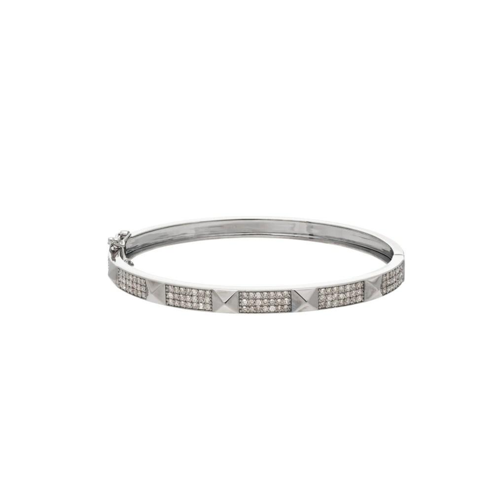 Wide Diamond Rock Studded Bangle Sterling Silver