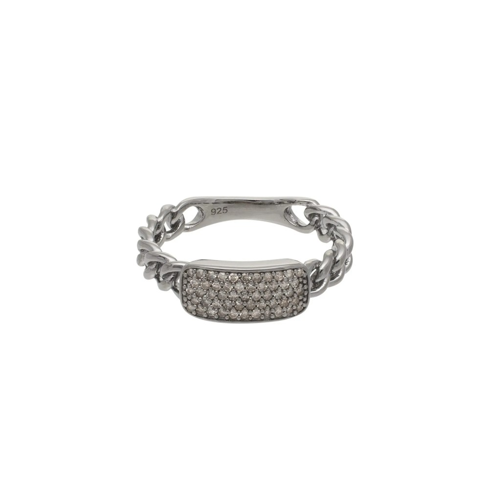 Diamond Curb Link Hard Chain ID Ring Sterling Silver