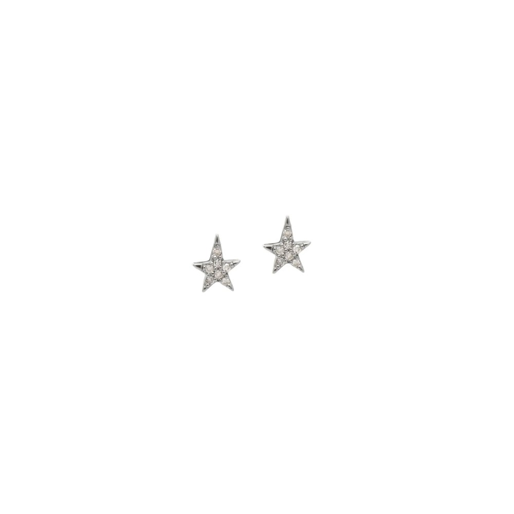Diamond Micro Mini Asymmetrical Stud Earrings Sterling Silver