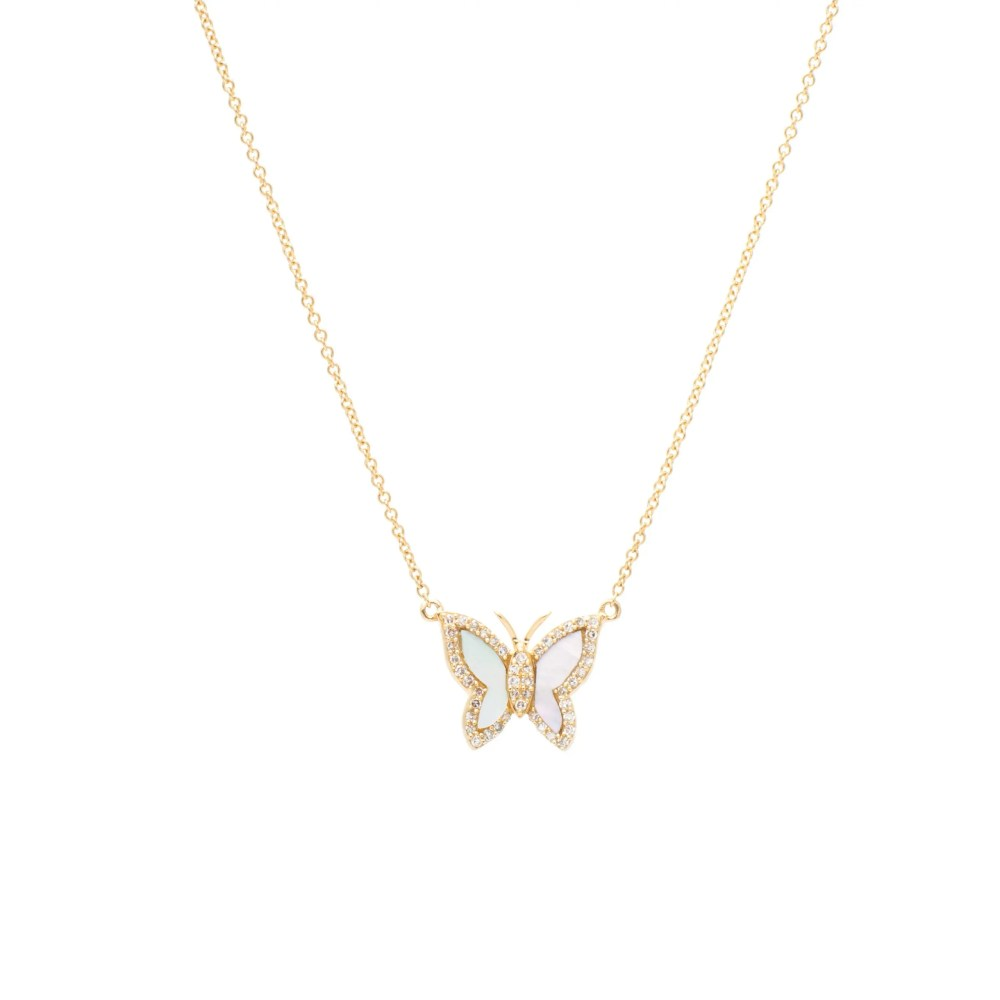 Diamond Mini Mother-of-Pearl Butterfly Necklace Yellow Gold