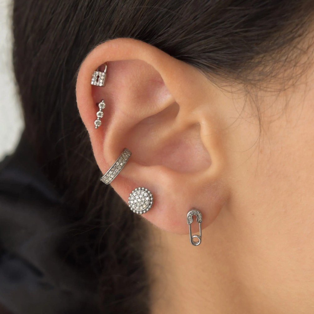 Diamond Mini Safety Pin Earrings