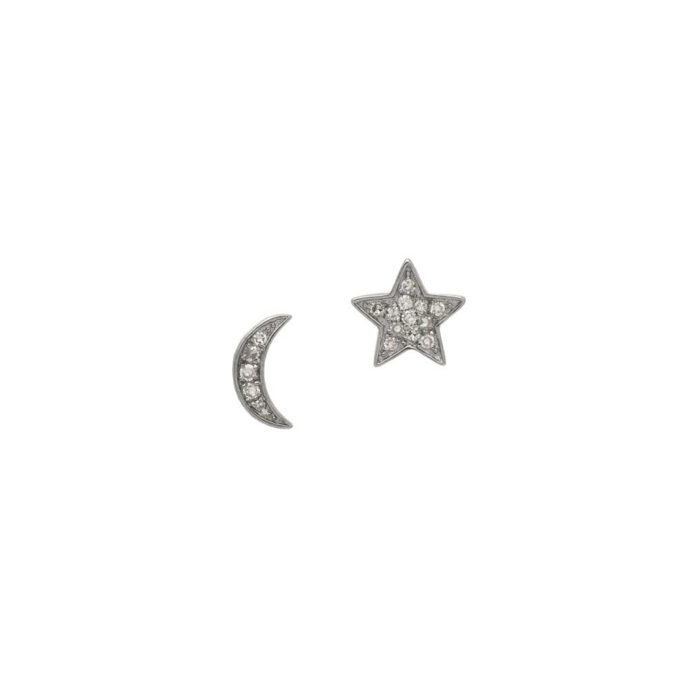 Diamond Petite Moon + Star Studs Sterling Silver