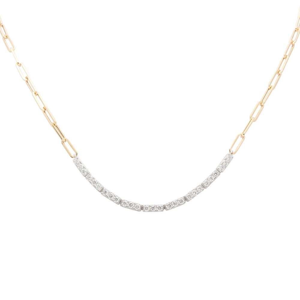 Diamond Tennis Chain Link Necklace 14k Gold