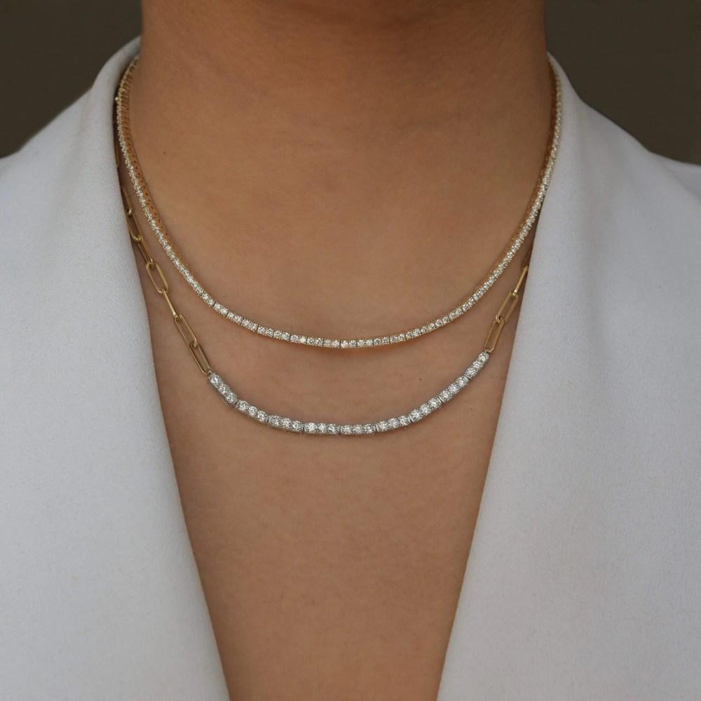 Diamond Tennis Chain Link Necklace