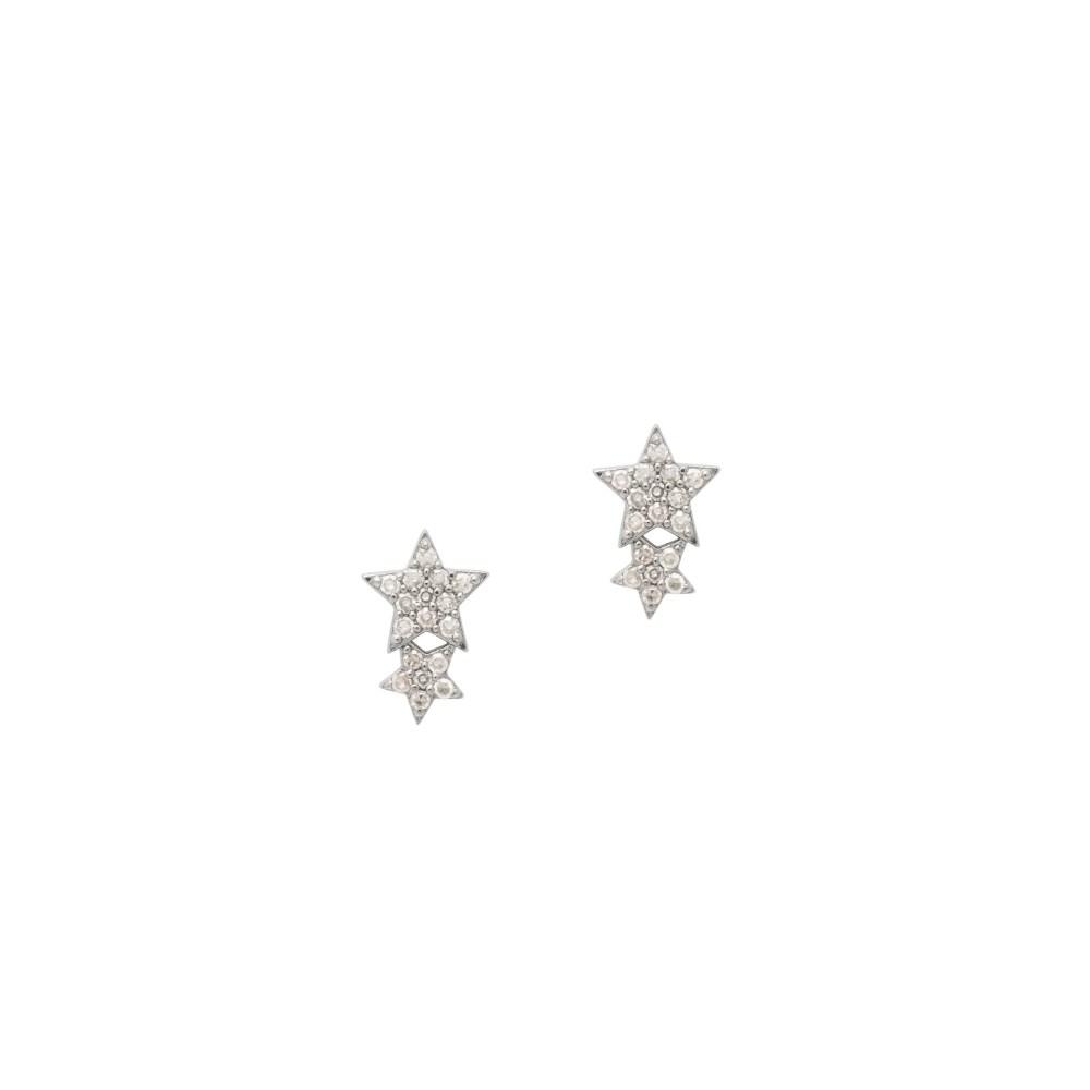 Double Diamond Star Studs Silver