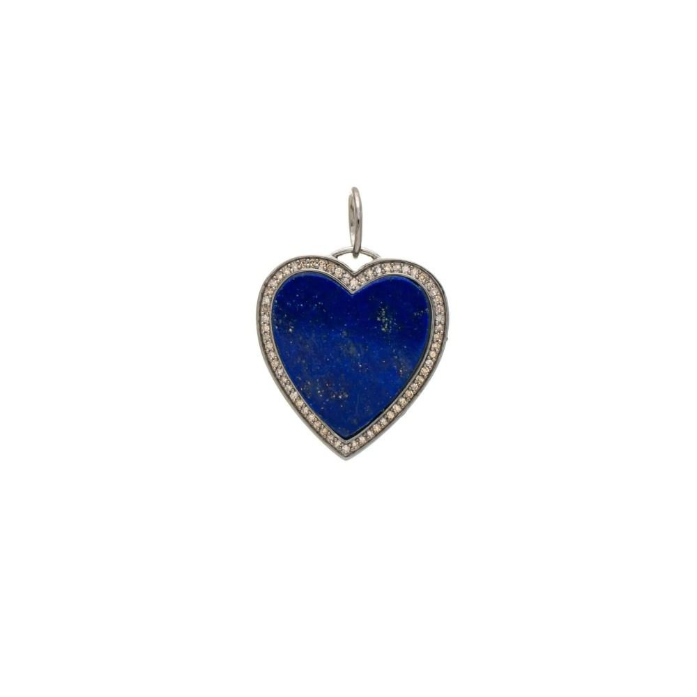 Lapis + Diamond Heart Charm Sterling Silver