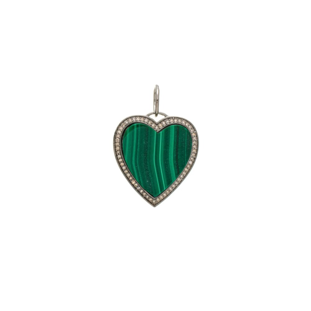 Malachite + Diamond Heart Charm Sterling Silver