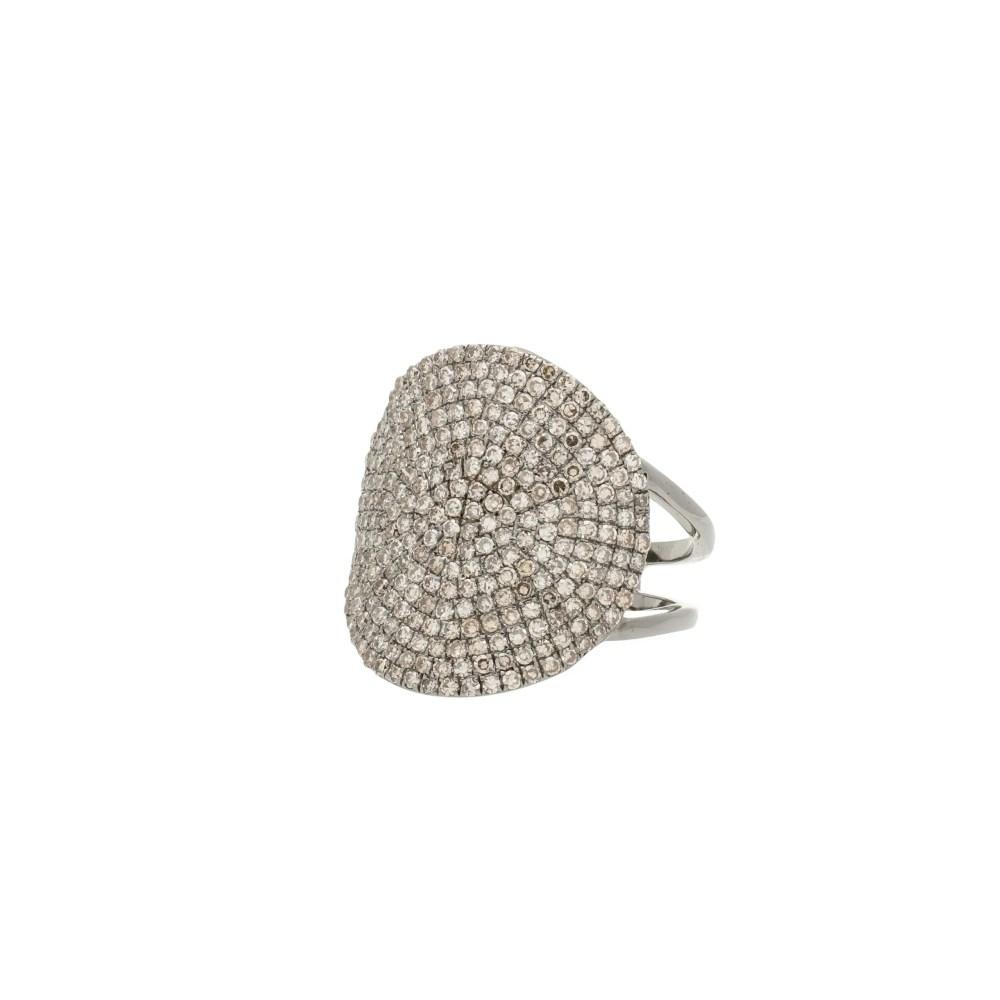 Medium Round Diamond Ring Sterling Silver