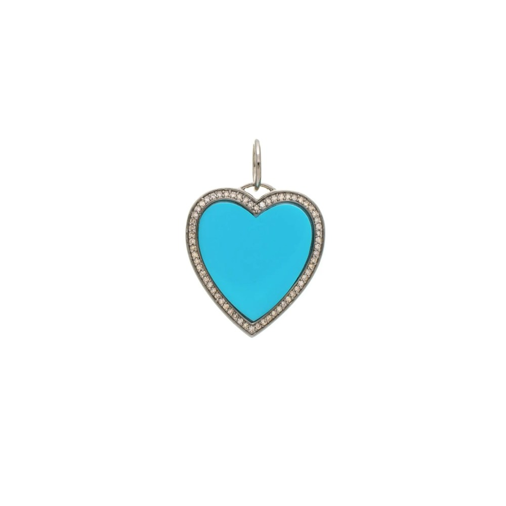 Turquoise + Diamond Heart Charm Sterling Silver