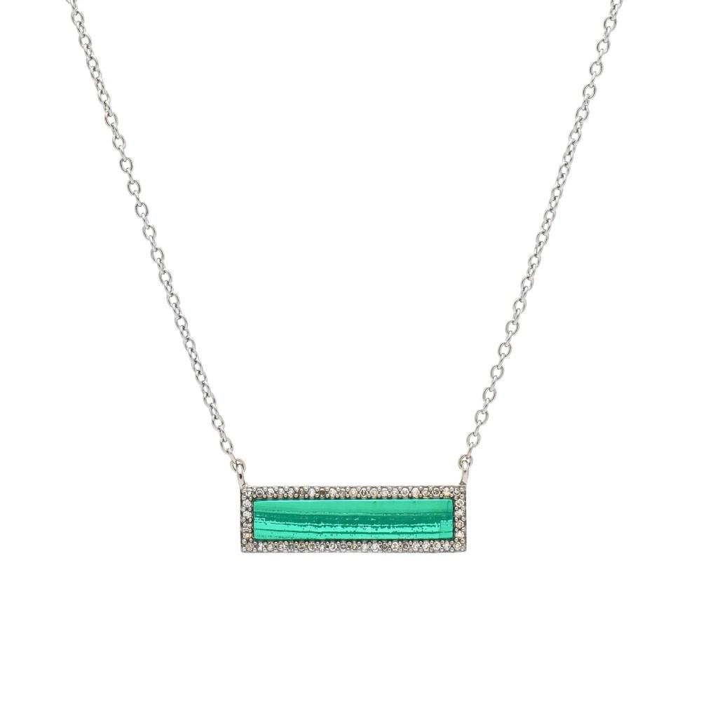 Diamond Malachite ID Necklace Silver