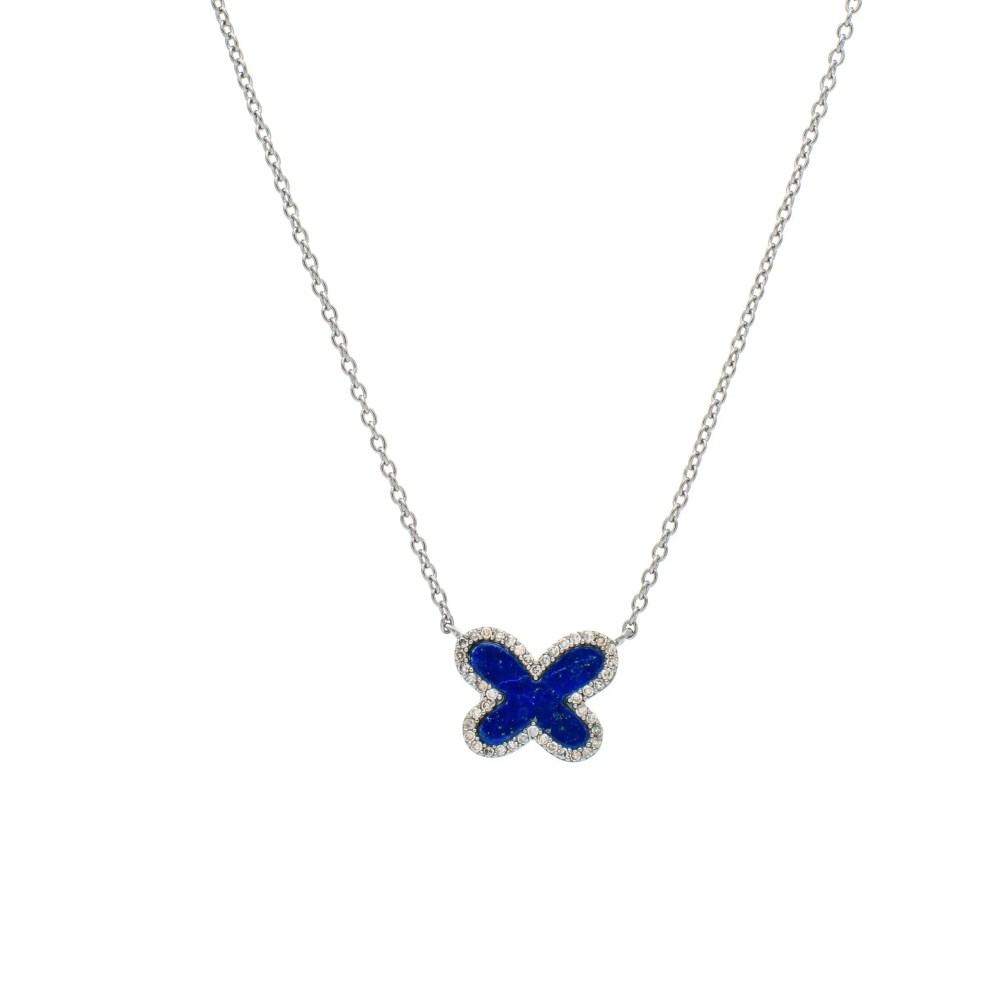 Diamond Mini Lapis Butterfly Necklace Sterling Silver