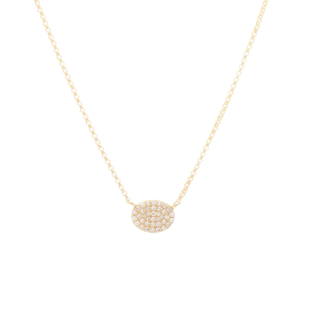 Diamond Small Oval Necklace Yellow Gold