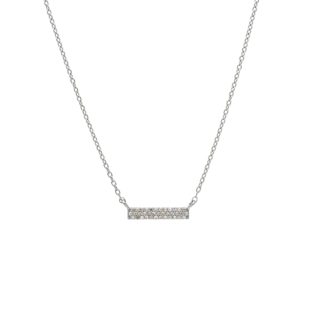 Small 3 Row Diamond Bar Necklace Sterling Silver