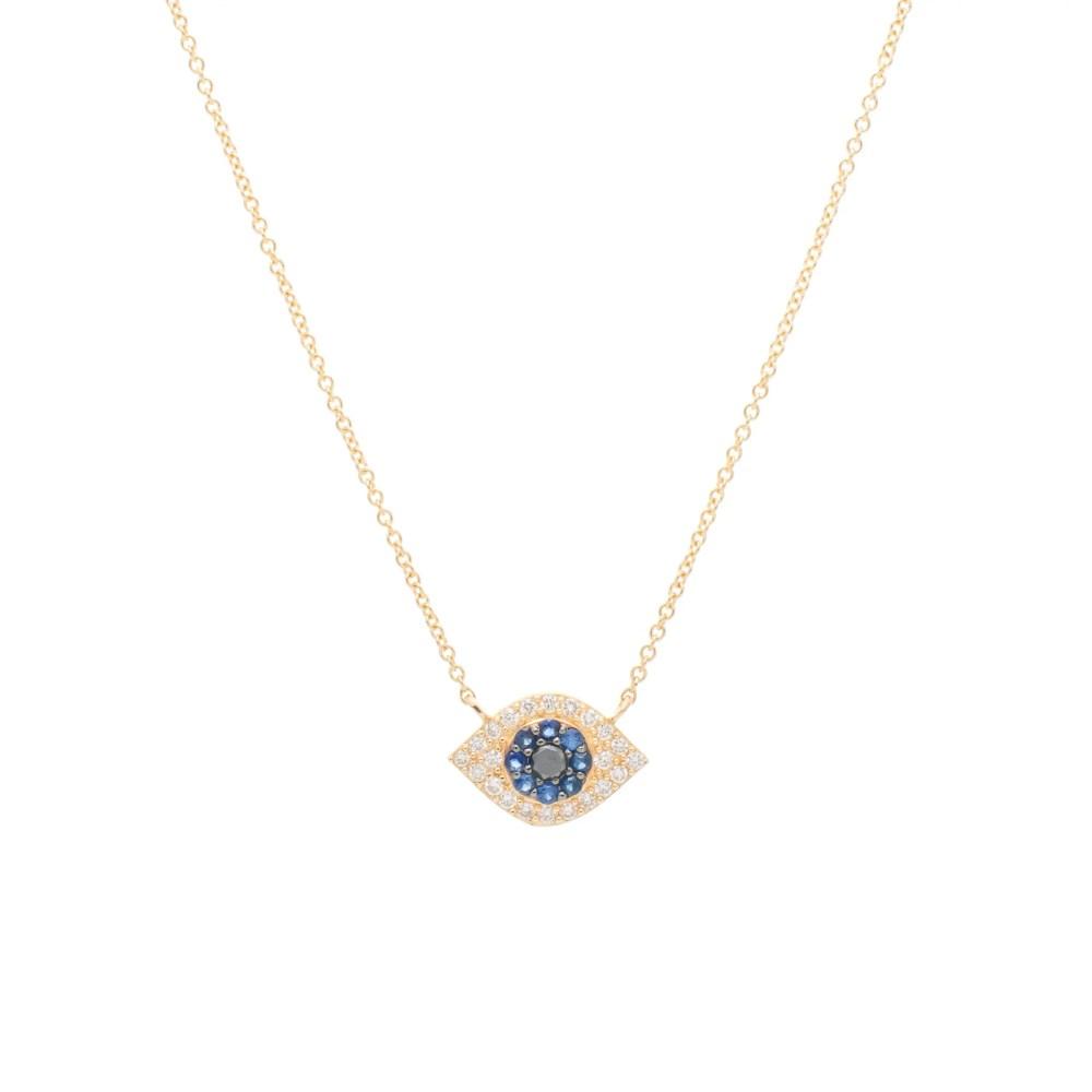 Small Diamond + Sapphire Evil Eye Necklace Yellow Gold