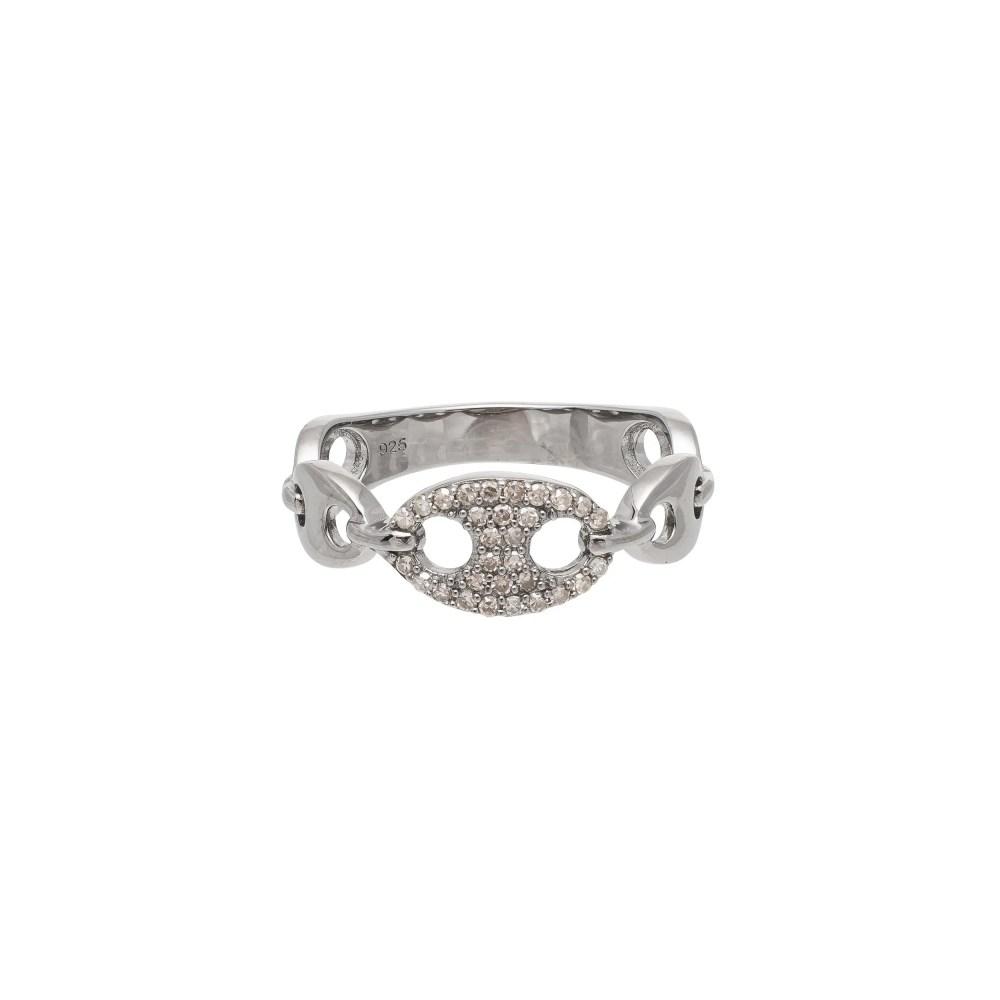 Tri-Link Diamond + Hard Link Ring Sterling Silver