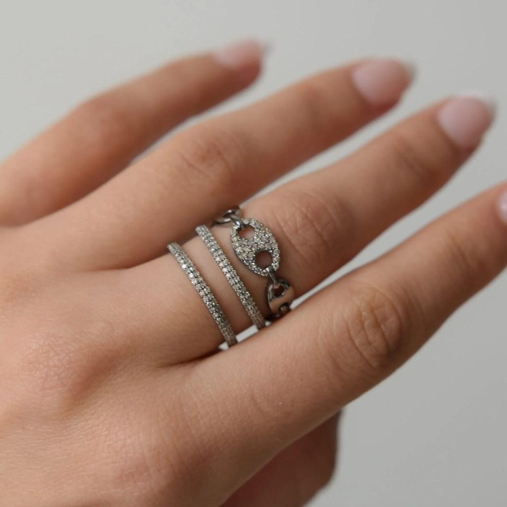 Tri-Link Diamond Link Ring
