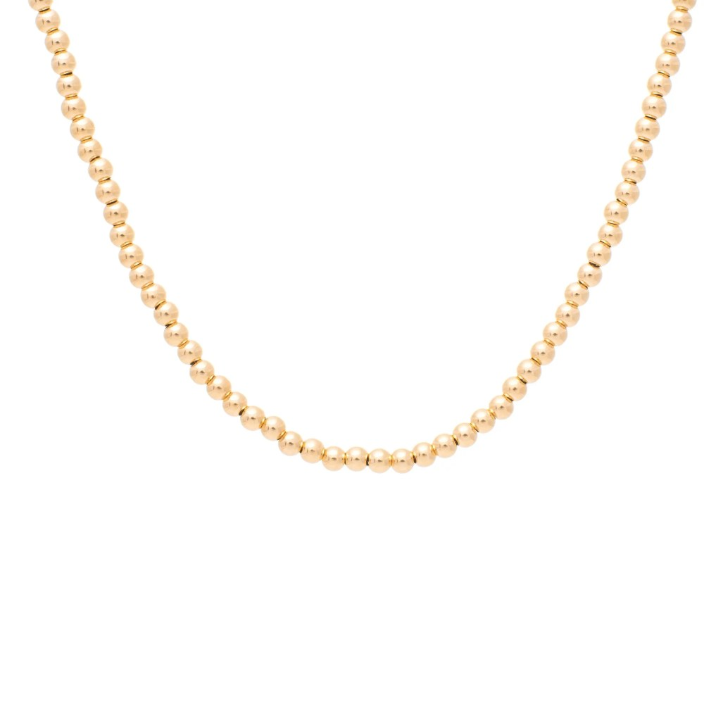 3mm Gold Beaded Ball Necklace Yellow Gold