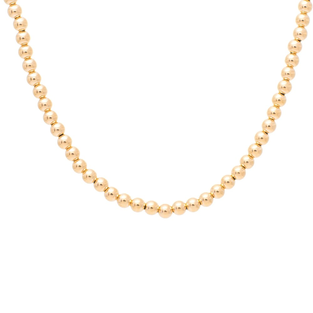 4mm Gold Beaded Ball Necklace Yellow Gold