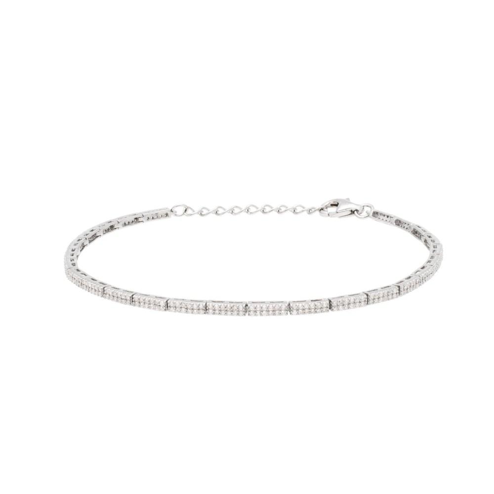 Diamond Link Tennis Bracelet Sterling Silver