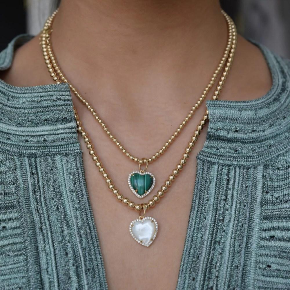 Diamond Small Puffed Malachite Heart Charm