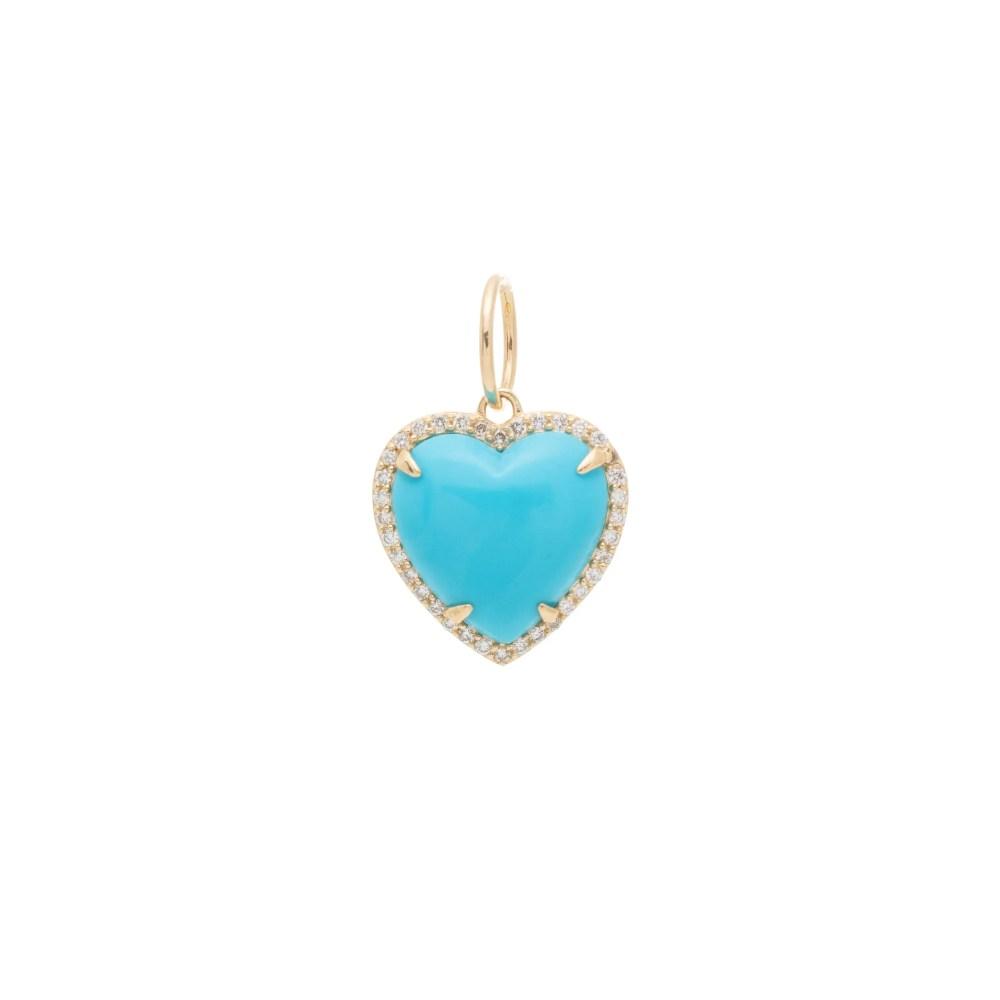 Diamond Small Puffed Turquoise Heart Charm Yellow Gold