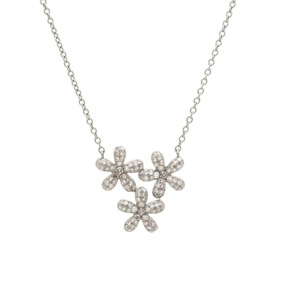 Diamond Triple Flower Necklace Sterling Silver