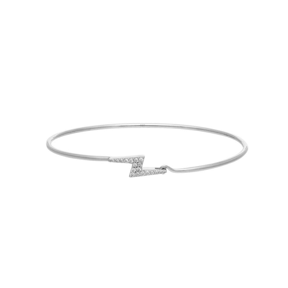 Diamond Lightning Bolt Wire Bracelet Sterling Silver
