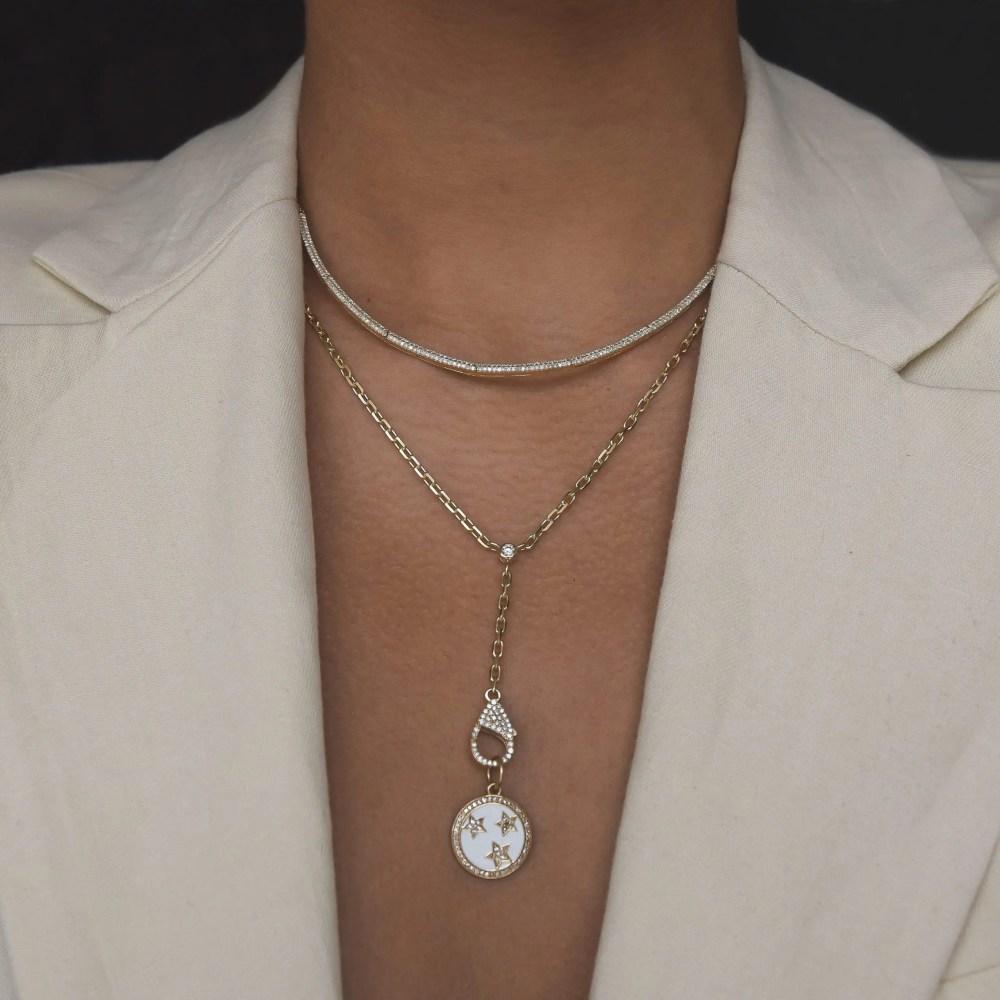 Single Diamond Y Lariat with Diamond Clasp Charm Holder