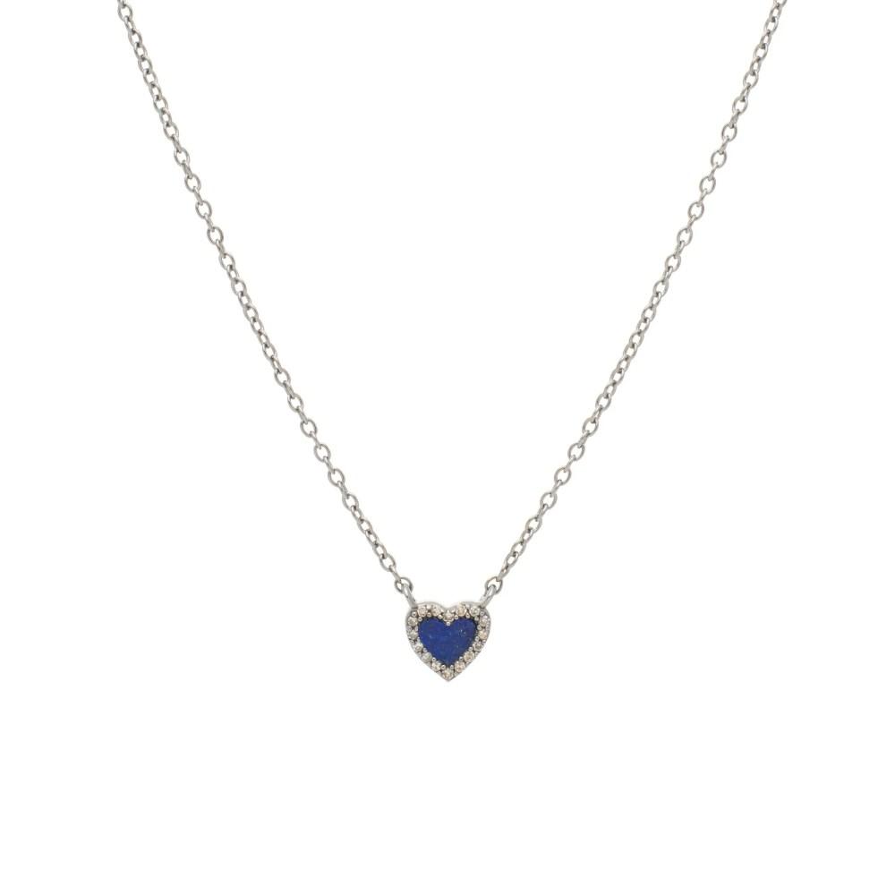 Diamond Mini Lapis Heart Necklace Sterling Silver