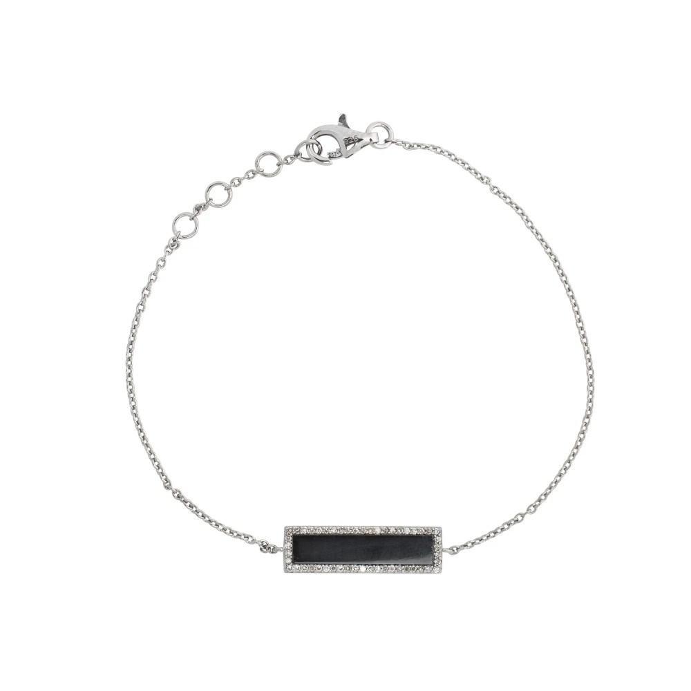 Diamond Onyx ID Bracelet Sterling Silver