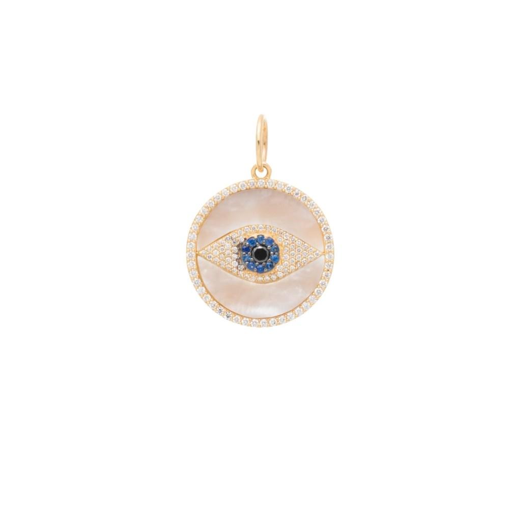 Diamond + Onyx White Mother-of-Pearl Evil Eye Disc Charm 14k Yellow Gold