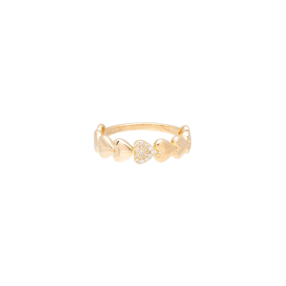 Diamond Puffed Heart Ring Yellow Gold