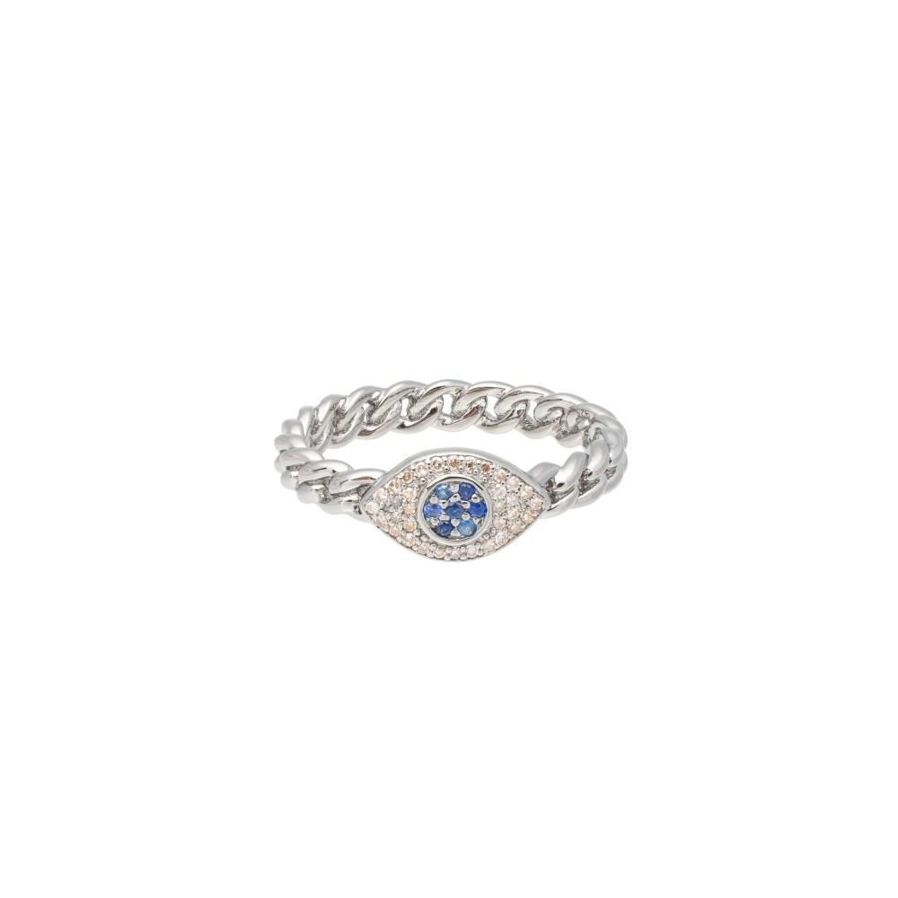 Diamond + Sapphire Evil Eye Curb Chain Hard Link Ring Sterling Silver