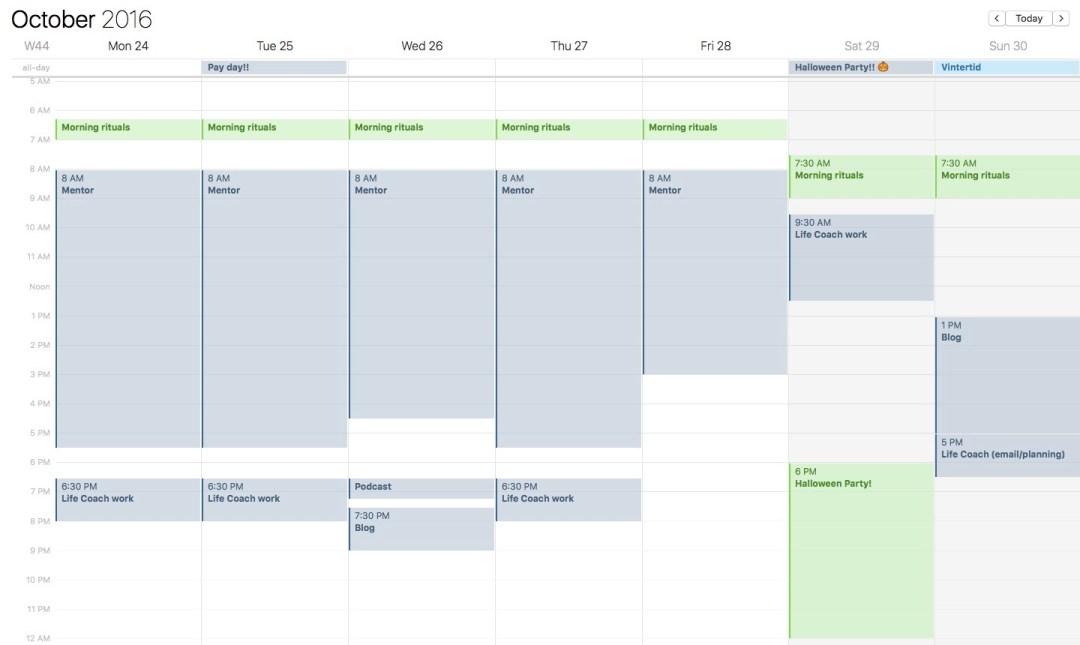 week 43 calendar