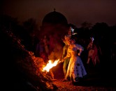 ...and after our story has played out, the May Queen and Green Man light the 'Beltane' bonfire... | Copyright Ellen Duffy for BFS. All rights reserved.