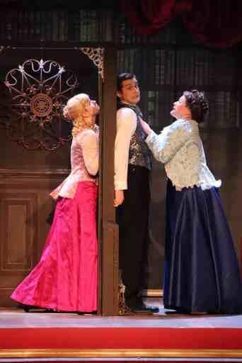 Lauren Knott, Tyler Graeper, and Lauren Bamford in Raleigh Little Theatre's 'A Gentleman's Guide to Love & Murder'