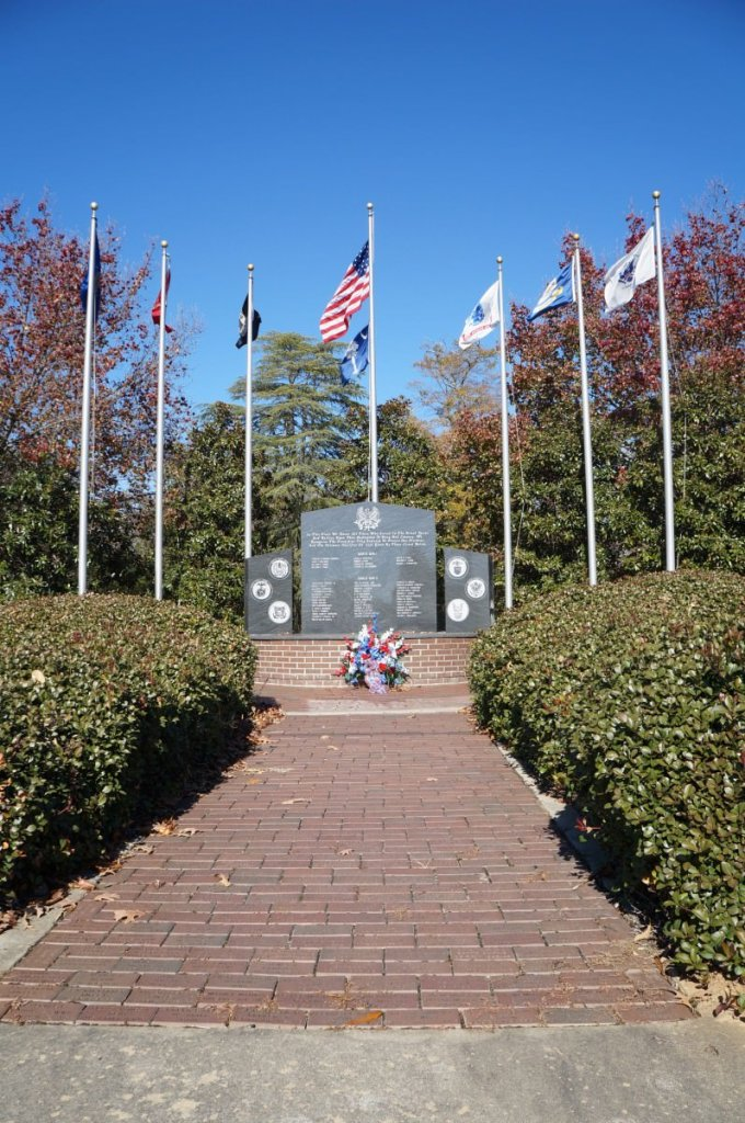 Belton Veteran's Memorial Park. The 6 flags represent the 6 military services.