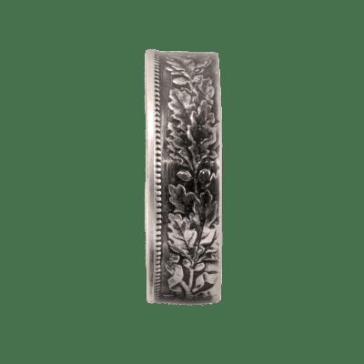 """Bague Belvetica, Frs 1.-, design """"Fleurs"""", noire, brillante."""