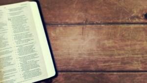 Bible on wood table