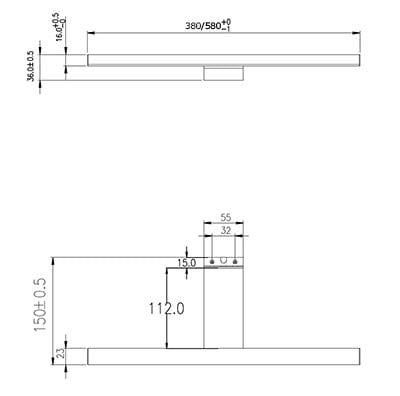 Lagan LED Speillampe 5W 230V 380 mm   Belysning.online