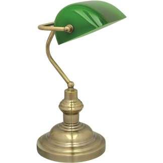 Bankir banklampe antikk messing | Belysning.online