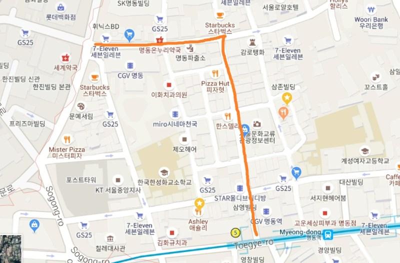 myeongdong street market map