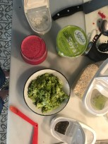 Toppings mise en place.
