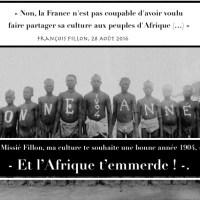 """Missié @FrancoisFillon, """"Ma culture te souhaite une bonne année 1904, et l'Afrique t'emmerde!"""""""