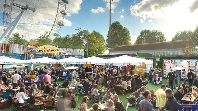 Street food market at Underbelly Festival