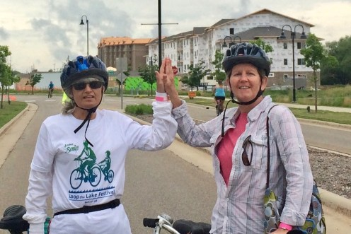 Another Methodist rider, Charlene Anderson (R) with her friend, Susan Modich (L)