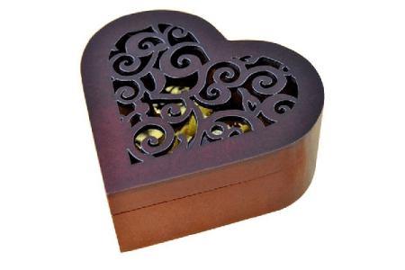 Heart Shaped Wood Carved Music Box
