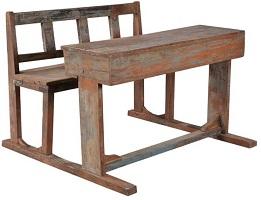 Oud schoolbankje hout met rugleuning